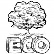 Stock Vector: Eco or nature emblem sketch