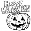 Royalty-Free Stock Векторное изображение: Happy Halloween pumpkin sketch