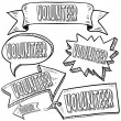 Volunteer labels, banners, and tags — Stock Vector