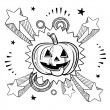 Stock Vector: Halloween excitement sketch
