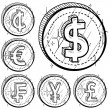 International currency icon set - Vettoriali Stock