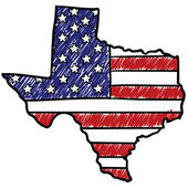 Texas is America sketch — Stok Vektör