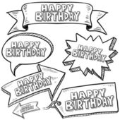 Happy Birthday banners, labels, and tags — Stock Vector