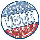 Abstimmung kampagne schaltfläche skizze — Stockvektor