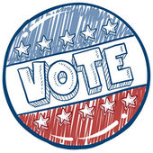 Vote campaign button sketch — Vector de stock