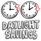 Ora legale risparmi tempo schizzo — Vettoriale Stock