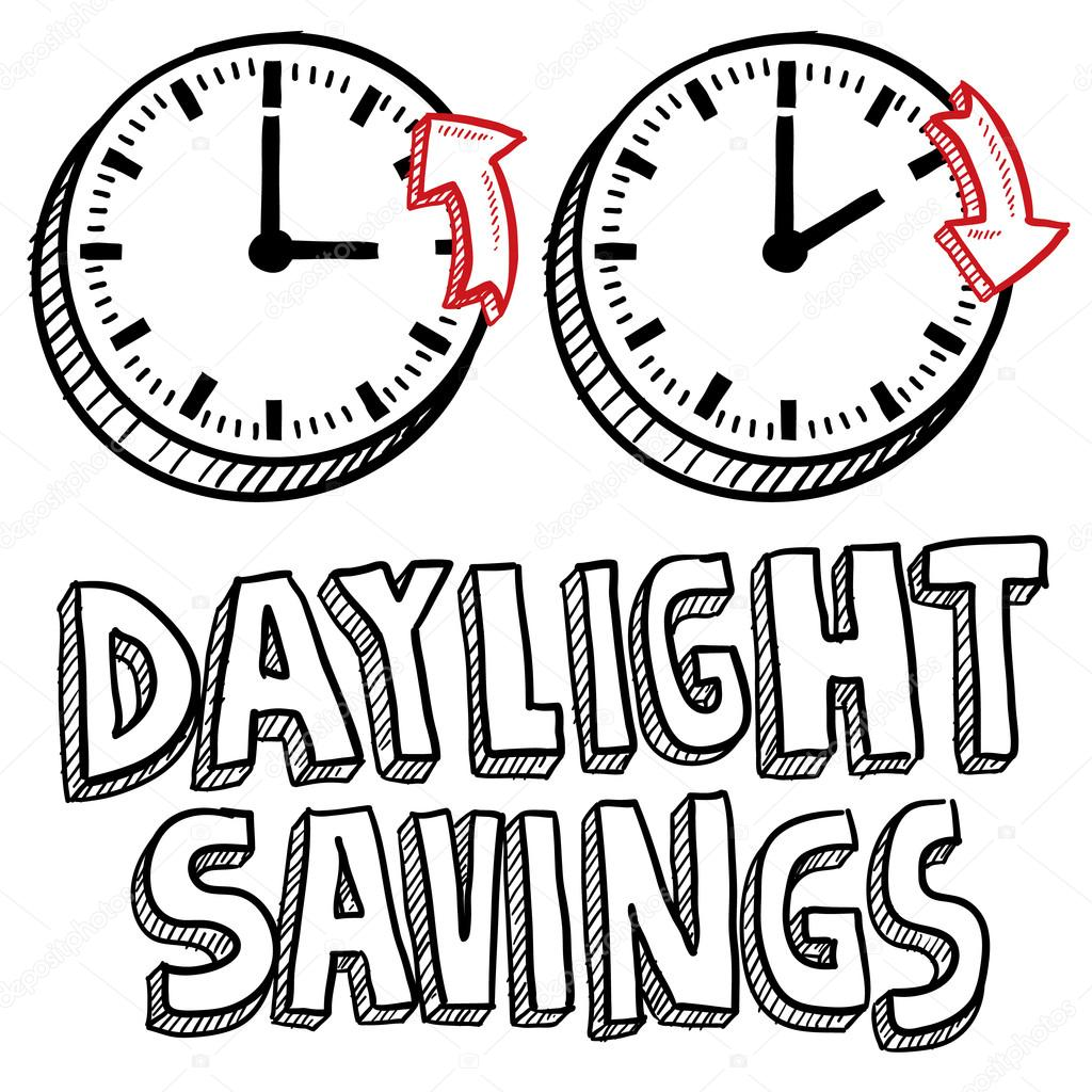 Doodle style illustration of Daylight Savings Time, including clocks moving forward and backwards to illustrate the time change. Vector format. — Stock Vector #13889823