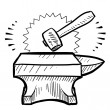 Hammer and anvil sketch — Stock Vector