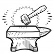 Hammer and anvil sketch — Stock Vector #13891822