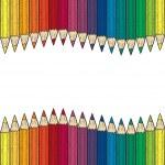 Seamless colored pencil vector border — Stock Vector