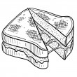 Stock Vector: Grilled cheese sandwich sketch