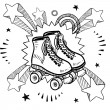 Roller skating excitement sketch — Image vectorielle