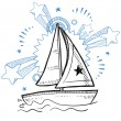 Stock Vector: Sailboat excitement sketch
