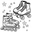 Rollerskates and rollerblades sketch — Stock Vector #13892993
