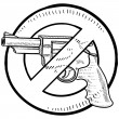 Gun control symbol sketch — Stock Vector
