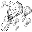 Bombs with parachutes sketch — Grafika wektorowa