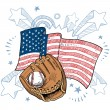 America loves baseball sketch - Stock Vector