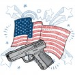 Постер, плакат: America loves guns vector sketch