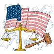 American justice vector sketch — Stock Vector
