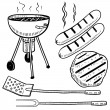 Backyard barbecue or cookout objects sketch — Stock Vector #13894879