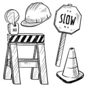 Road construction objects sketch — Stock Vector