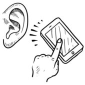 Mobile communication metaphor sketch — Stock Vector