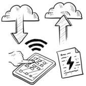 Cloud computing en gegevensoverdracht schets — Stockvector
