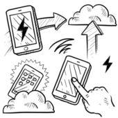Эскиз облачных вычислений — Cтоковый вектор