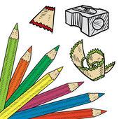 Colored pencil corner tab — Stock Vector