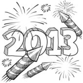 2013 New Years Celebration sketch — Stock Vector