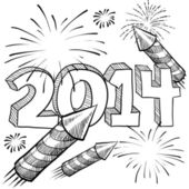 2014 New Years Celebration sketch — Stock Vector