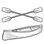 Esboço de canoa e remo — Vetorial Stock