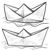 Paper boats sketch — Stock Vector
