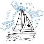 Sailboat excitement sketch — Stock Vector