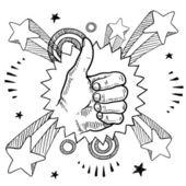 Thumbs up sketch — Stock Vector