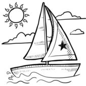 Sailboat sketch — Stock Vector