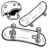 Skateboard equipment sketch — Stock Vector