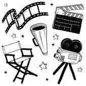 电影设置设备素描 — 图库矢量图片