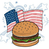 American hamburger sketch — Stock Vector