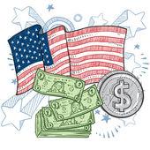 American wealth sketch — Stock Vector