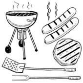 Backyard barbecue or cookout objects sketch — Stock Vector