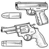 Handguns sketch — Stock Vector