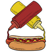 Hot dog vector sketch — Stock Vector