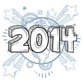 2014 New Years Eve sketch — Stock Vector