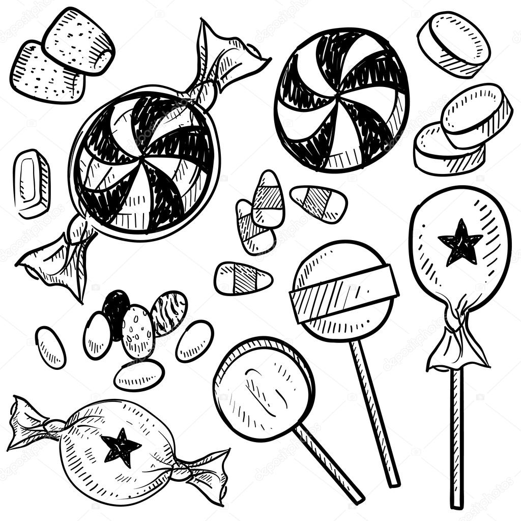 Candy assortment sketch - Stock IllustrationWrapped Candy Drawings