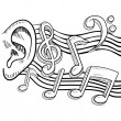 An ear for music sketch - Stock Vector