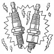 Automotive spark plug sketch - Stock Vector