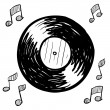 Retro vinyl record sketch - Imagen vectorial