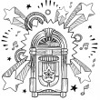 Vintage jukebox pop sketch — Stock Vector