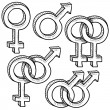 Gender and relationship symbol sketch — Stock Vector